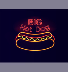 Big hot dog neon signboard vector