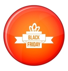 Black friday ribbon icon flat style vector