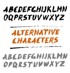 Brush font uppercase letters hand written abc vector