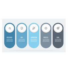 Business infographics with 5 steps options vector