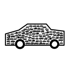car vehicle with vehicles silhouette vector image