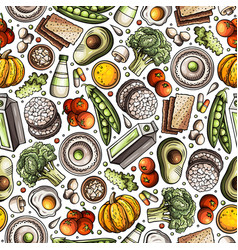cartoon hand-drawn diet food seamless pattern vector image