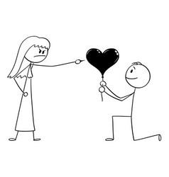 Cartoon man in love giving ballon in heart vector