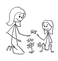 Cartoon of mother and daughter watching flowers vector