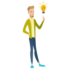 Caucasian businessman pointing at idea lightbulb vector