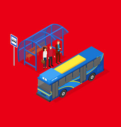 city public transport bus 3d isometric view vector image