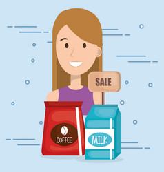 Consumer with supermarket groceries vector