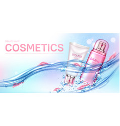 Cosmetics bottles floating in water with petals vector