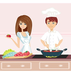 Couple cooking dinner vector image