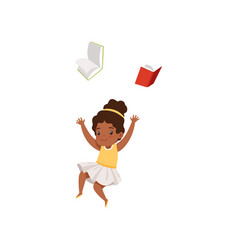 Cute african american girl having fun with book vector