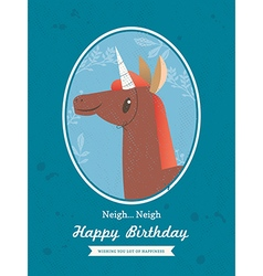 Cute Horse unicorn Animal Cartoon Birthday card vector
