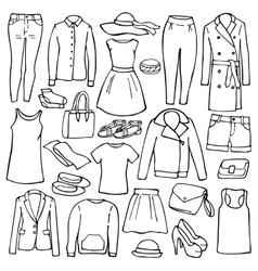 Doodle set with woman clothes vector