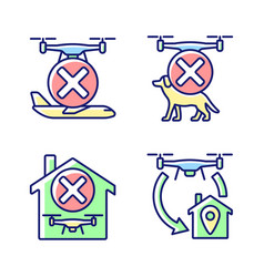 Drone instruction rgb color manual label icons set vector