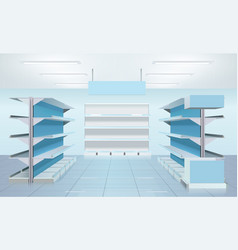 Empty supermarket shelves design vector