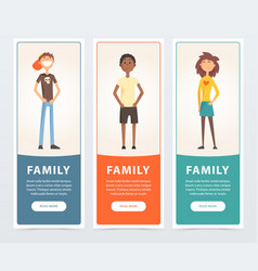 Family banners set happy children teens flat vector