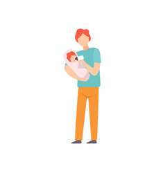 father feeding little baby with milk bottle vector image