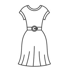 Female dress with belt icon outline style vector