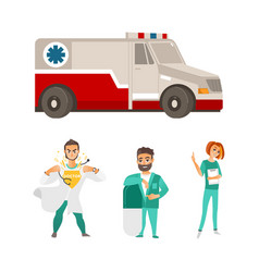 Flat ambulance car super doctor surgeon vector