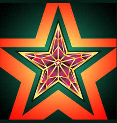 golden red star vector image