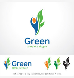 Green people logo template design vector