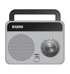 Grey portable radio mockup realistic style vector