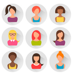 group colorful women avatars flat style design vector image