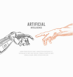 hand touch android and human artificial vector image