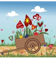 Hand truck with blossoming hearts on sky vector image
