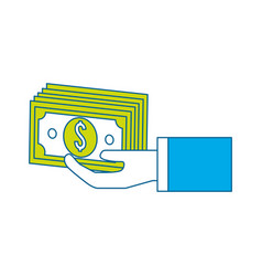 Hand with green bill money vector