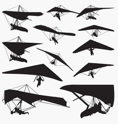 hang glider silhouettes vector image