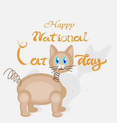 happy national cat day sign vector image