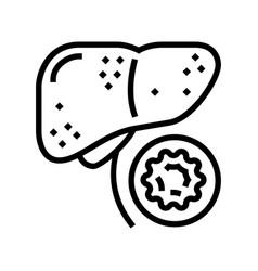 Hepatitis b line icon vector