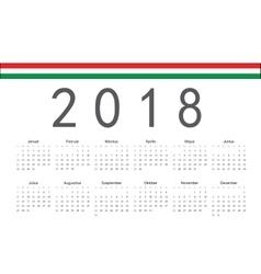 Hungarian 2018 year calendar vector