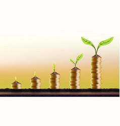 Increasing from 1 to 10 plant on coins investment vector