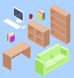 isometric office set vector image