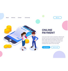 isometric online payment concept gold coins vector image