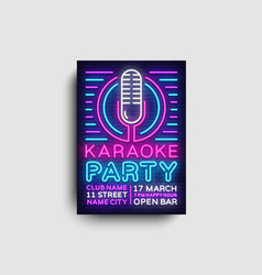 Karaoke party poster neon karaoke night vector