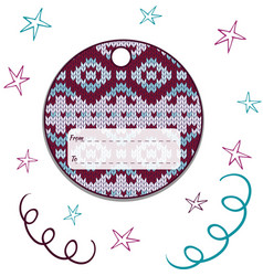 label round with knitted ornament vector image