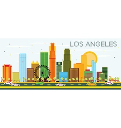 Los Angeles Skyline with Color Buildings vector