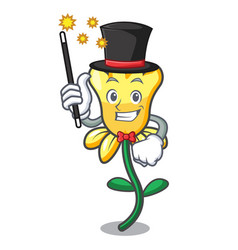 Magician daffodil flower mascot cartoon vector