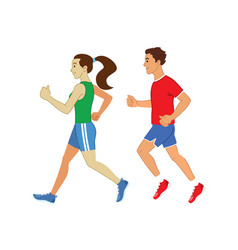 Man and women running set vector