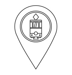 map pointer with tram icon outline style vector image