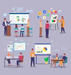 marketers study analytical data customer demand vector image