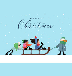 Merry christmas card funny children in winter sled vector