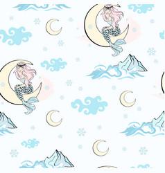 moon mermaid pattern merry christmas vector image