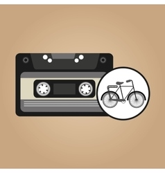 Music cassette bicycle vintage background desgin vector