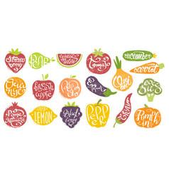 Names fruits in fruit shaped frame set vector