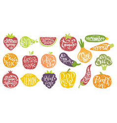 Names of fruits in fruit shaped frame set vector