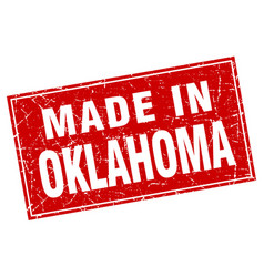 Oklahoma red square grunge made in stamp vector