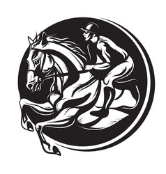 Outline of indian ink horse riding riding horse vector